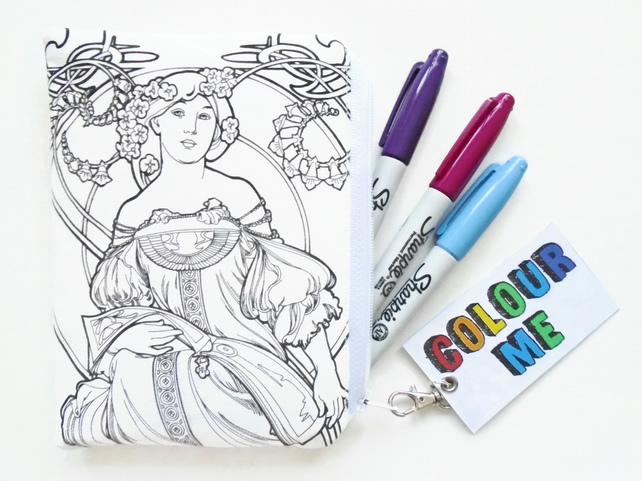 Colour-In The Mucha Doodle Wallet