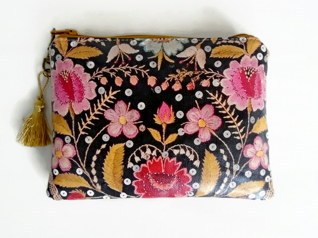 Waterproof embroidered print floral Wallet