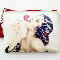 Waterproof Ladies Pin-up Girl Wallet, Phone,  Purse, cosmetic bag,  make-up bag