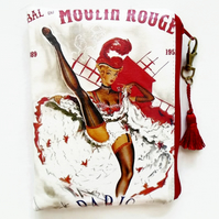 Waterproof Vintage moulin Rouge French Wallet, tampon pouch, makeup