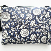 Navy Floral Waterproof Purse