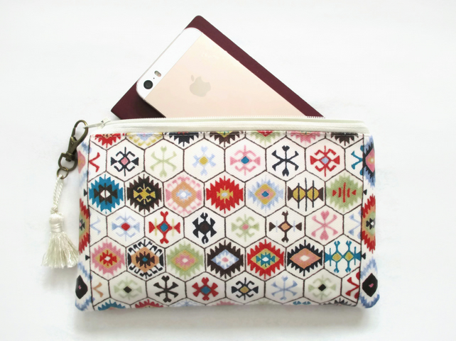 Waterproof aztec hexagon Print Purse