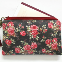 Waterproof Black Floral Print Purse
