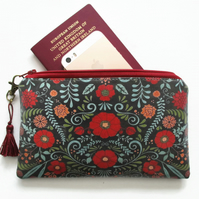Waterproof Primitive Folk Flower Print Purse