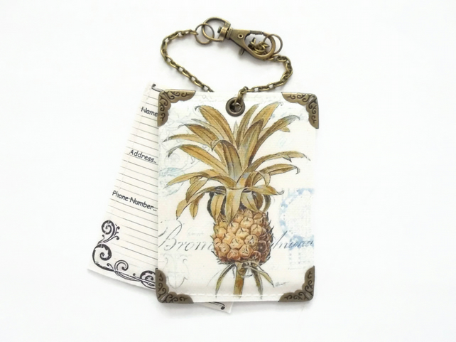 Vinyl Pineapple luggage, travel Tags