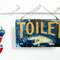 Hanging Vinyl Wall Art, Vintage toilet sign, antiques