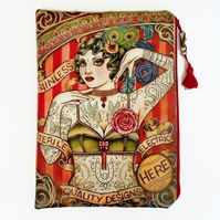 Large Waterproof Vintage Tattoo lady Clutch Purse Bag Cosmetics Travel