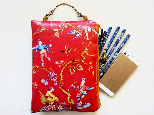 Red oriental large waterproof Hanging Cosmetic Bag, book, toiletries bag