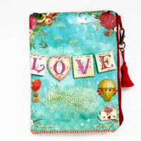Waterproof Love Print design Clutch Wallet Purse Cosmetic storage