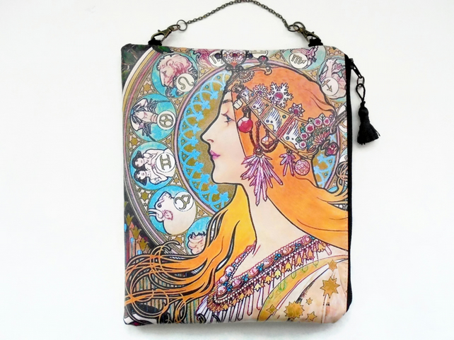Large waterproof  Hanging Cosmetic Bag Art Nouveau