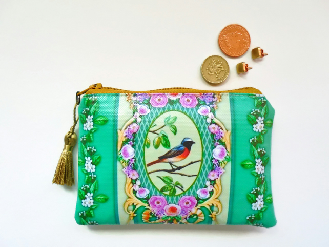 Waterproof birds and flowers wallet, coin Purse