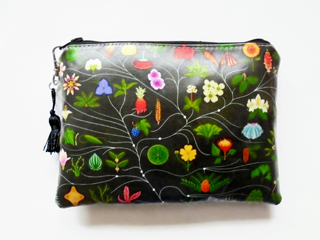 Waterproof black botanical clutch, wallet, purse,make-up,cosmetic,phone storage
