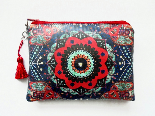 Waterproof boho denim, Phone sleeve,  Purse, cosmetic bag,  make-up bag