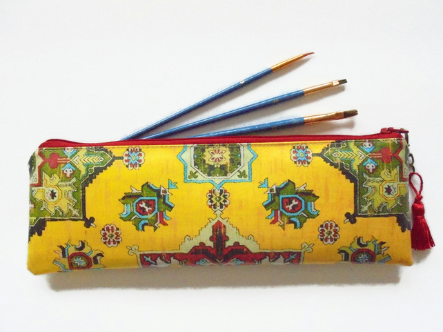 Waterproof persian, turkish, kilim ethnic pencil case, brush case, hook storage.