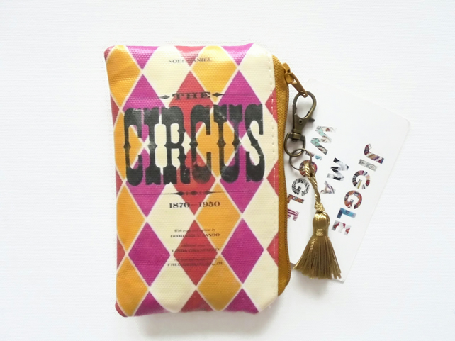 Waterproof vintage circus, credit card wallet, business card holder, coin Purse