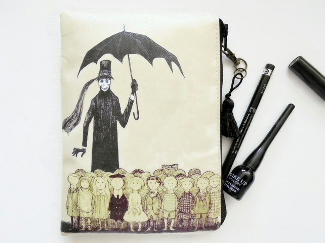 Waterproof pouch, edward gorey, dark vintage, mid century Wallet, Purse, Bag,