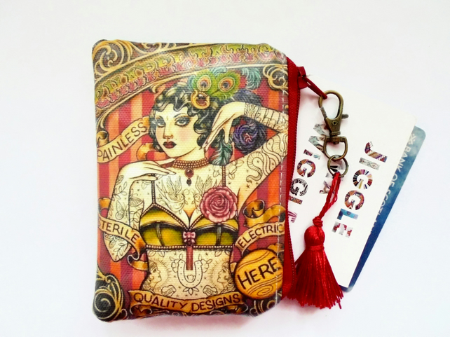 Waterproof tattoed lady credit card wallet, business card holder, coin Purse