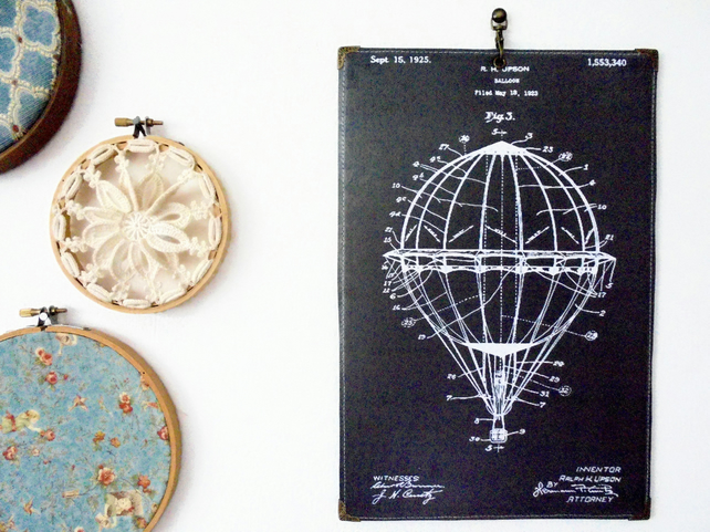 Hanging waterproofed reversible Wall Art, Hot air balloon blueprint