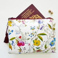 waterproof botanical print pouch, floral ladies wallet
