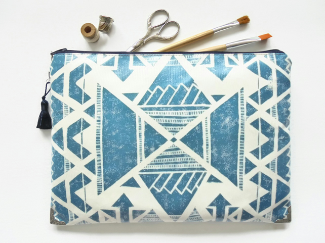 Large Waterproof navajo, Indian, boho cosmetic bag, zipper bag