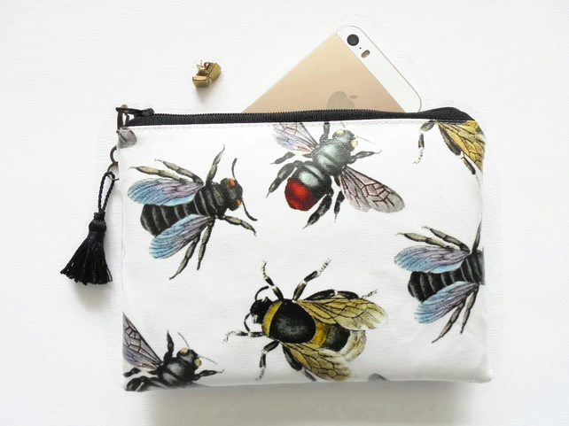 Waterproof bumble bee print wallet, cosmetic bag , zipper pouch.