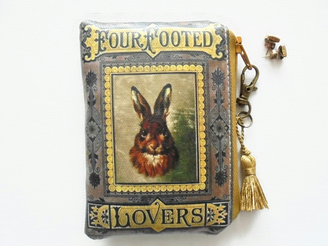 Waterproof pouch, rabbit or hare credit card wallet, business card holder.