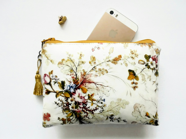 Waterproof pouch, antique Floral Wallet, Purse, Cosmetic Bag.