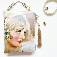 Flapper girl, hanging bag, mini storage bag, discreet pouch.