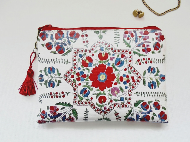 Waterproof  red Folk Floral Wallet, waterproof bag, waterproof pouch