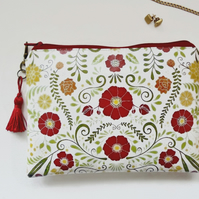 Waterproof Primitive Folk Flowers Print coin Purse