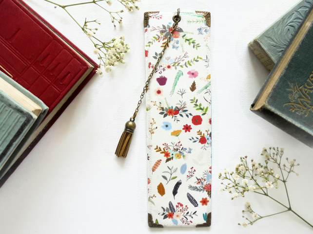 Luxury waterproof Bookmark, woodland print, literary gift, book lover