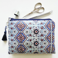Waterproof pouch, Moroccan tile print, mock tile waterproof wallet.