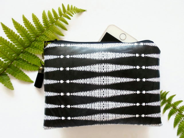 Waterproof fern print, monochrome Ladies wallet, glasses pouch, make-up bag