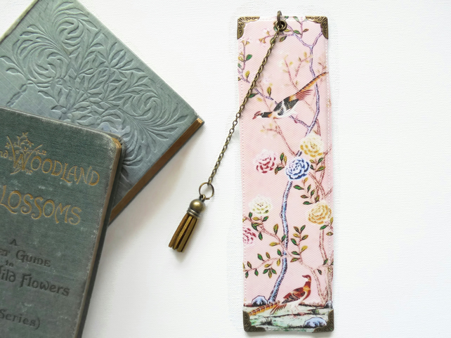 Luxury waterproof Bookmark, pink chinoiserie, literary gift,