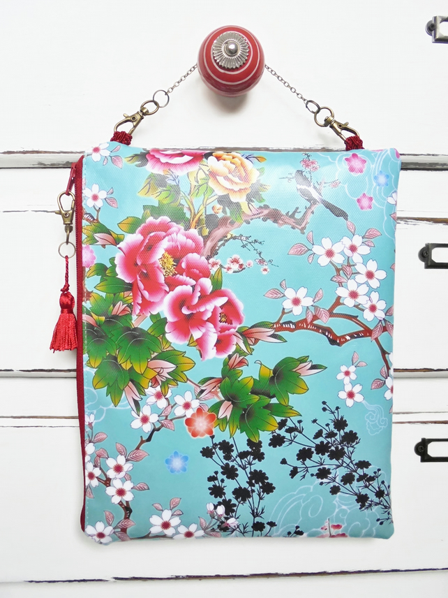 Waterproof travel pouch, hanging bag, overnight bag, chinoiserie, oriental.