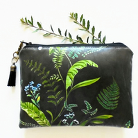 Dark Botanical fern, Waterproof Pouch, green and black fern, botanical fern bag.