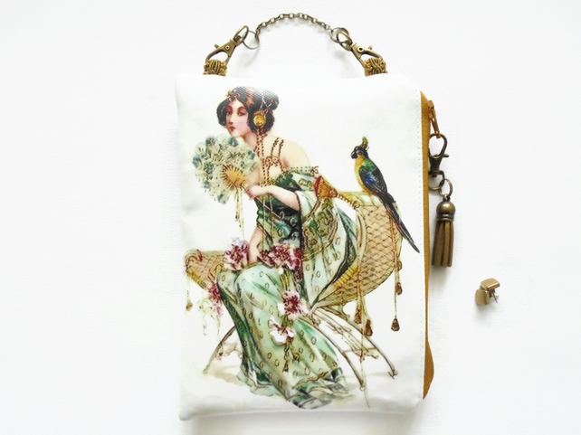 Vintage postcard, waterproof pouch, hanging bag.