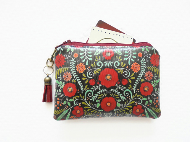 Waterproof credit card wallet, business card holder, lipstick bag, folky flowers