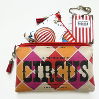 Waterproof pouches, vintage Circus theme, travel passport gift set.