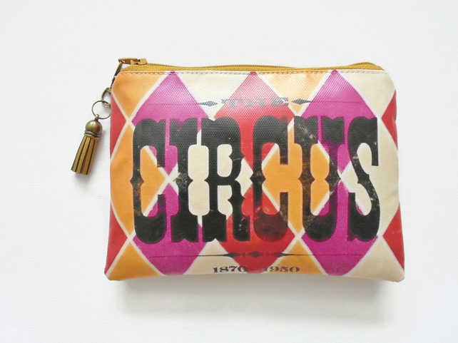 Waterproof pouch, ladies Wallet, vintage Circus theme.