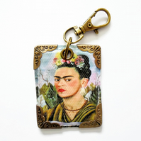keyring, bag tag, purse charm, bag charm, frida khalo