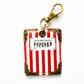 keyring, bag charm, purse charm, key tag, vintage popcorn packet