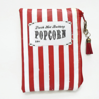 Waterproof pouch,  carnival popcorn, retro print, waterproof wallet