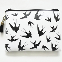 Waterproof pouch, monochrome wallet, swallow print, zipper pouch.