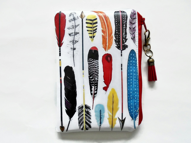Waterproof pouch, arrows print, feather print, waterproof wallet, zipper, bag.