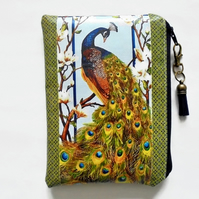 Waterproof pouch,peacock print, green peacock, waterproof wallet, zipper, bag.