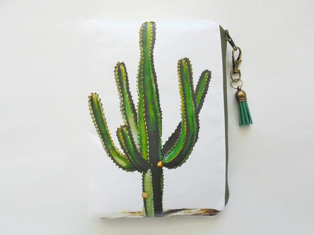 Waterproof pouch, Cactus print, waterproof wallet, zipper, wipe clean bag.