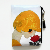 Waterproof pouch,art deco, women with flower, waterproof wallet, zipper, bag.