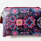 Purple Kaleidoscope paisley, waterproof pouch, zipper bag, wipe clean wallet.