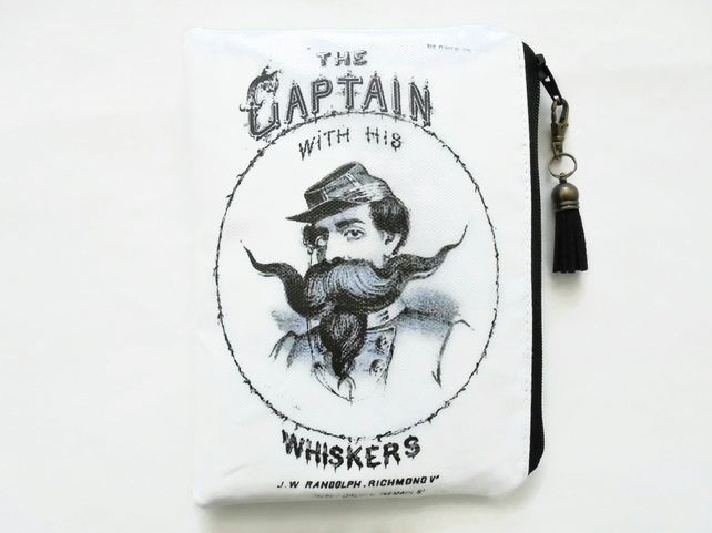Waterproof pouch, Captain whiskers, oilcloth wallet, wipe clean bag.